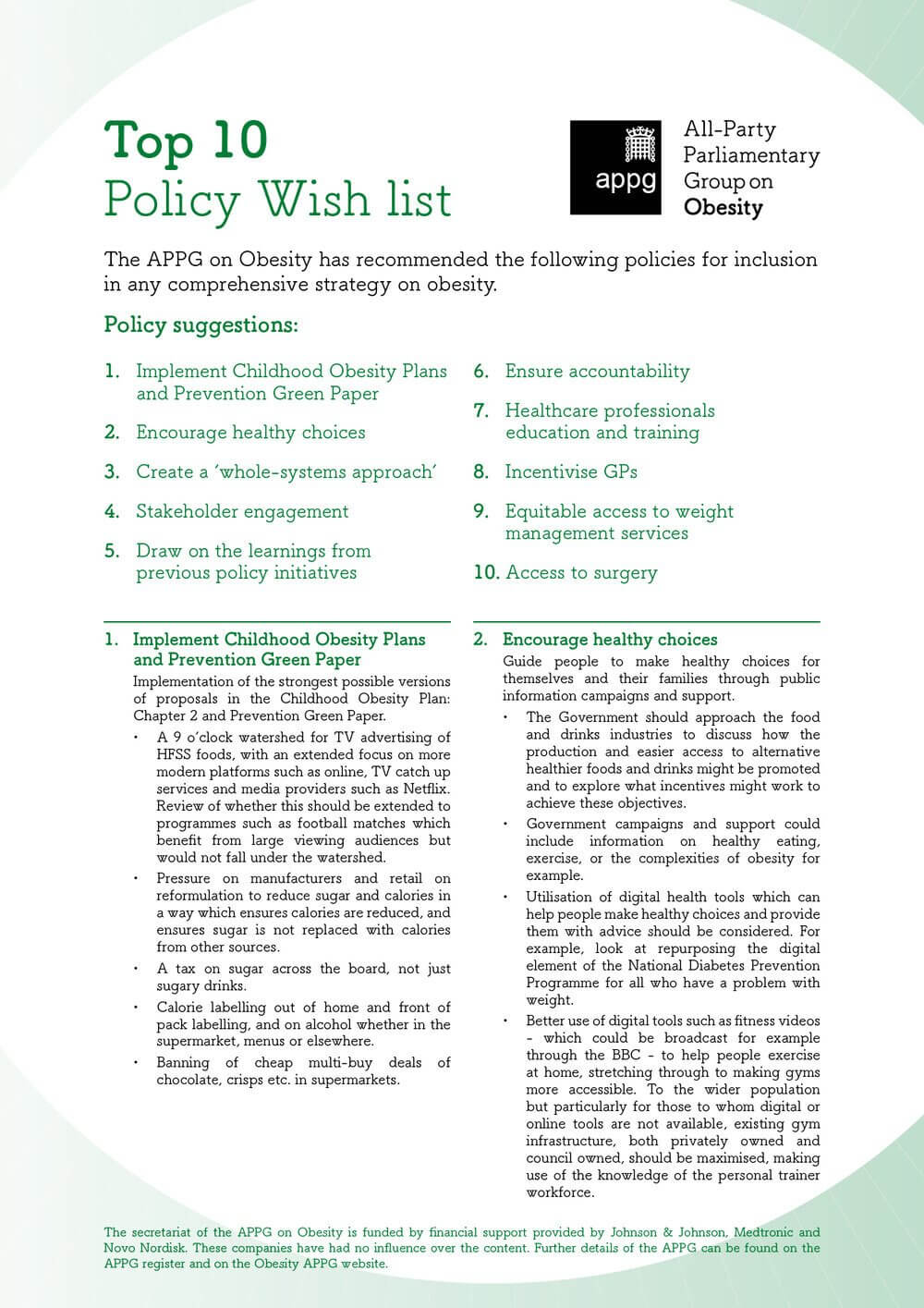 THE APPG ON OBESITY'S TOP TEN POLICY WISH LIST