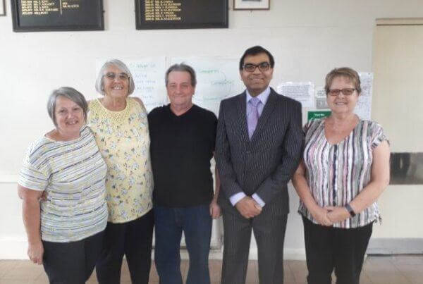 Dr Mahmud with patients at Hockley Surgery