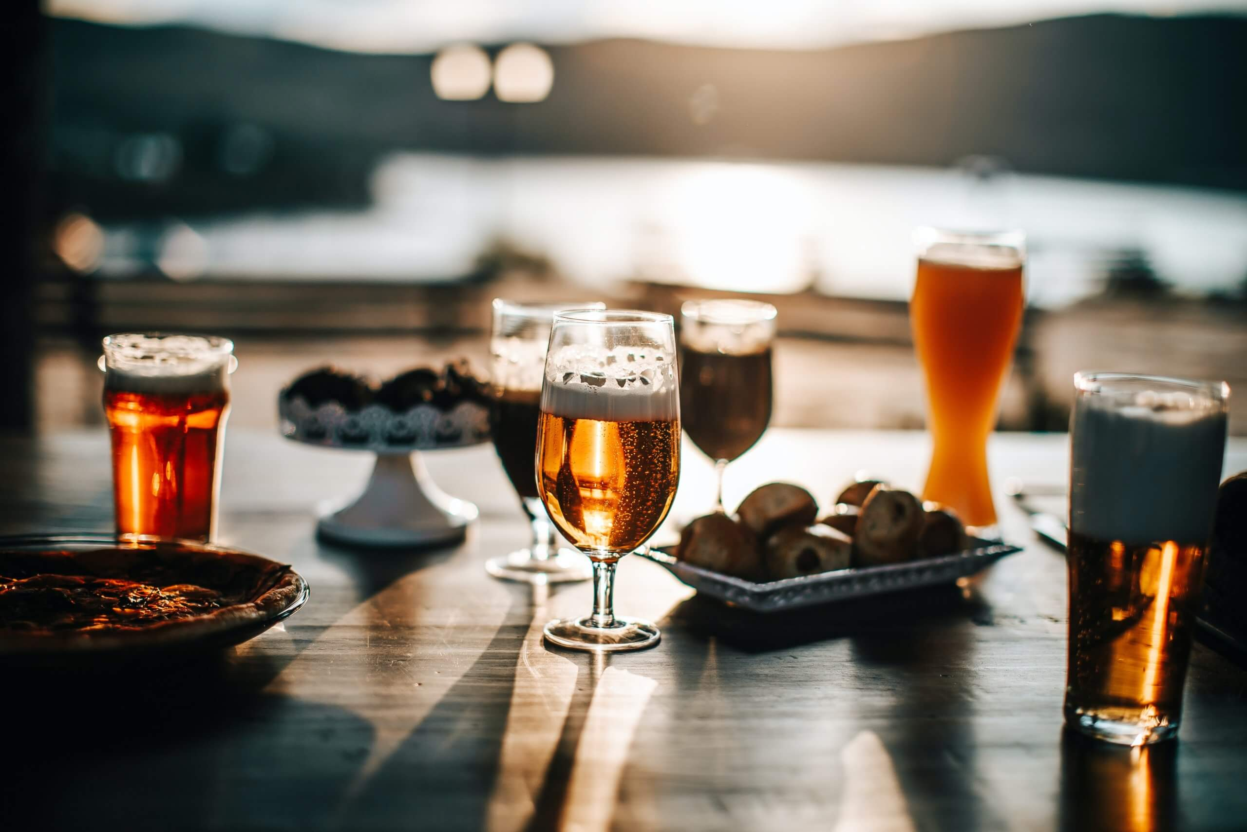 Outdoor restaurant table with beer glasses